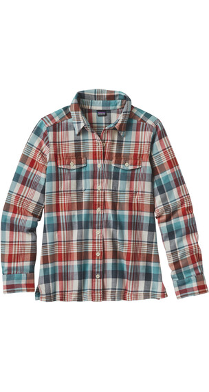 Patagonia W's Fjord LS Flannel Shirt Bay Laurel: Toasted White